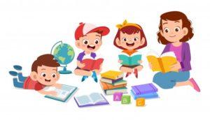 szczesliwe-dzieci-uczace-sie-razem-ze-swoim-nauczycielem_97632-817